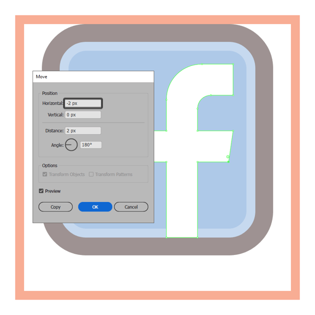 adjusting the crossbar of the facebook icons letter