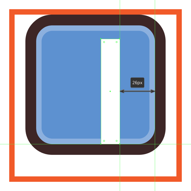 creating and positioning the main shape for the facebook icons letter