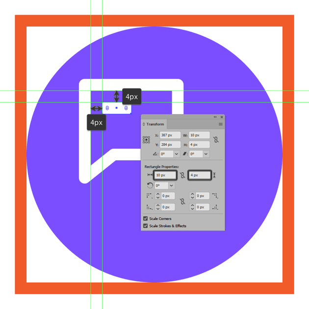 creating and positioning the first text line onto the messaging icons left text box
