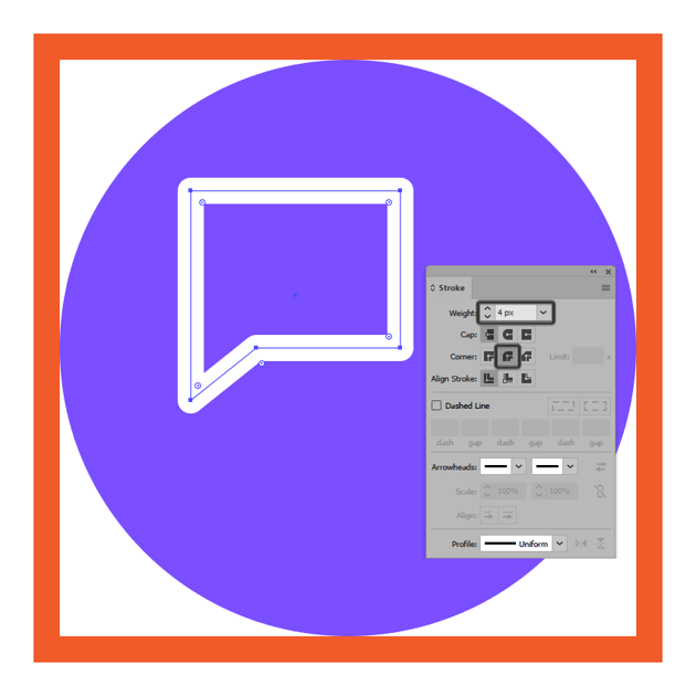 turning the messaging icons left text box into an outline