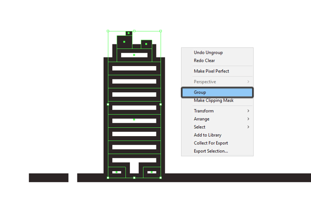 selecting and grouping all of the first buildings composing sections together