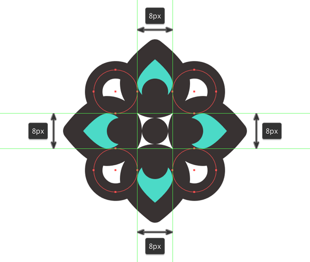 adding the decorative circles to the top dividers flower
