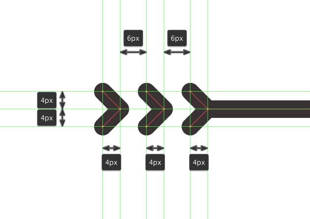 adding the three little right facing arrows to the bottom dividers left arm