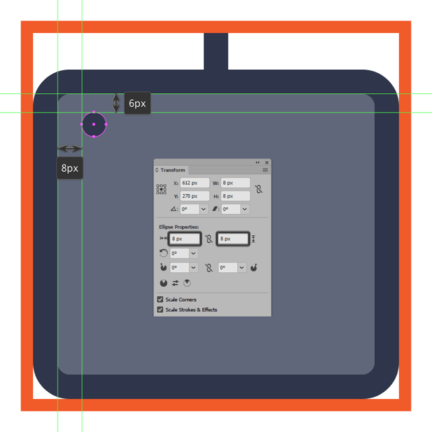 creating and positioning the main shape for the midi controller icons first adjustment knob
