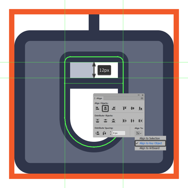 creating and positioning the main shape for the mouse icons bottom button delimiter