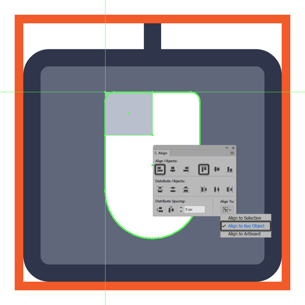 creating and positioning the main shape for the mouse icons left button