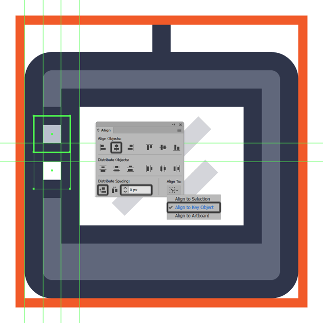 creating and positioning the tablet icons second left-sided button