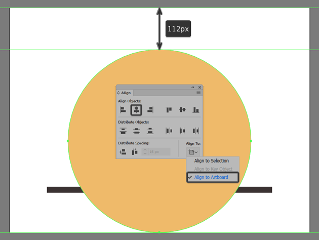 creating and positioning the backgrounds larger circle onto the Artboard