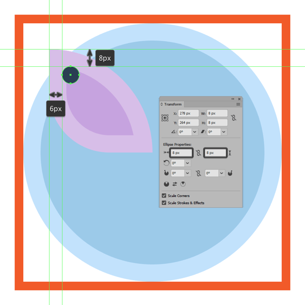 adding the larger circle to the upper section of the butterfly icons left wing