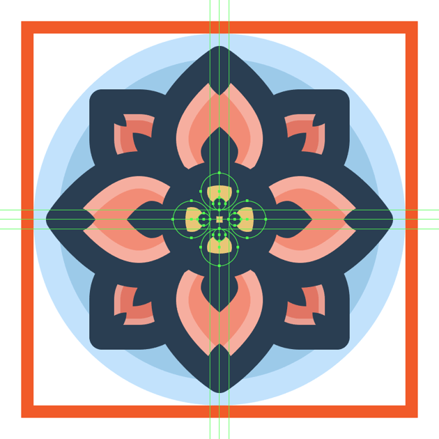adding the smaller fill circles to the flower icons center section