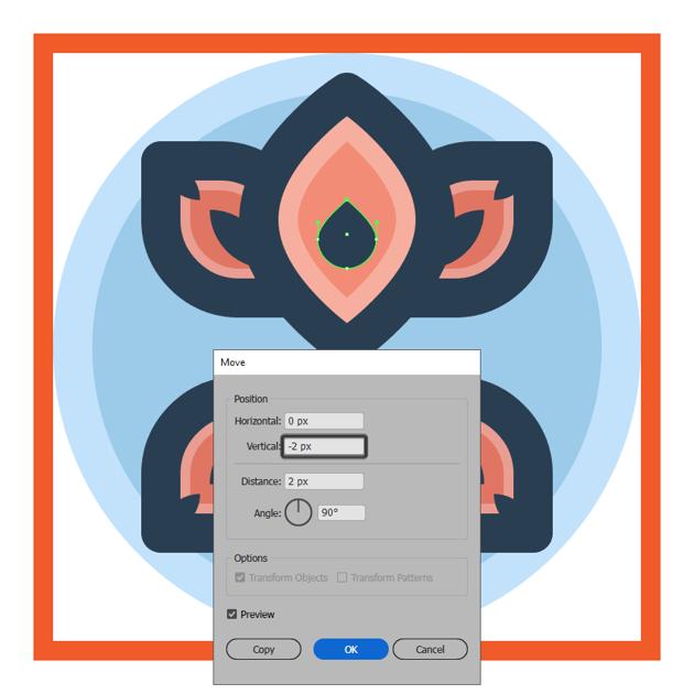 adjusting the shape of the flower icons larger petal bottom detail