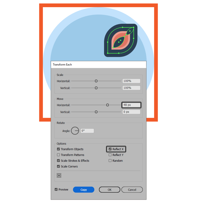 creating the flower icons smaller right petal using the transform each function