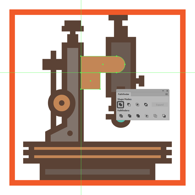 creating and positioning the bottom section of the microscopes right extending arm