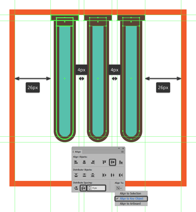creating and positioning the remaining glassware icons tubes
