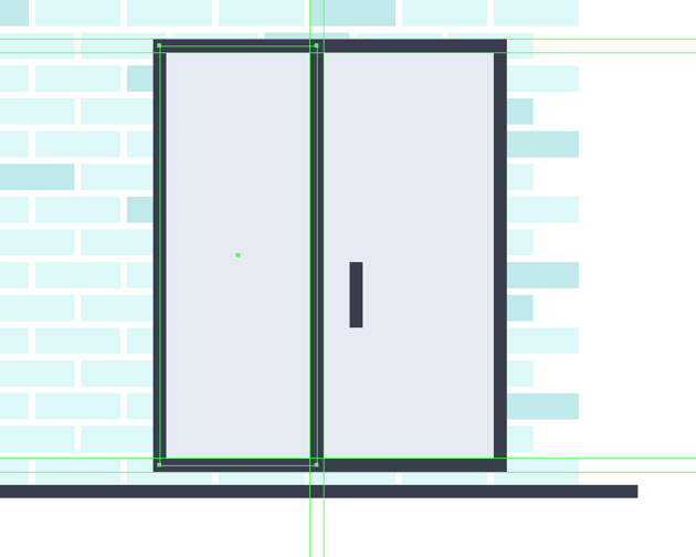 creating and positioning the main shapes for the refrigerators left door