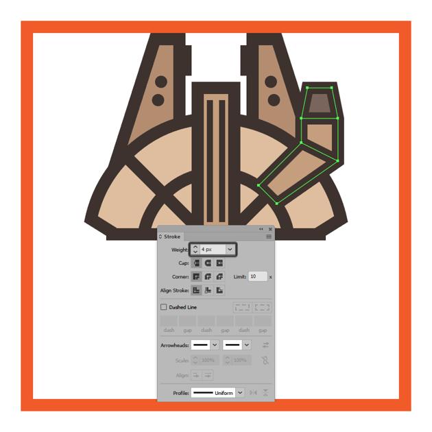 adding the outline to the millennium falcons cockpit