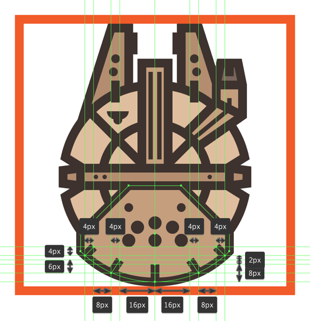 adding detail lines to the millennium falcons drive units