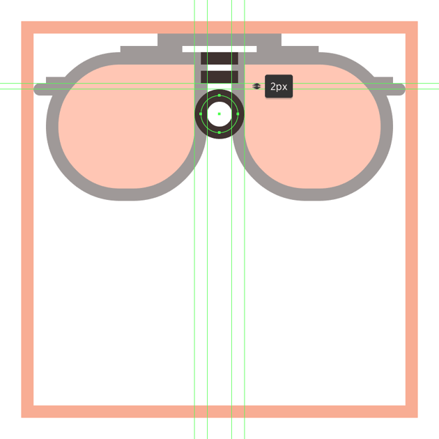 adding the nose section to the glasses upper section
