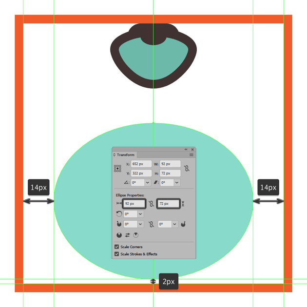 creating and positioning the main shape for the shell icons main body