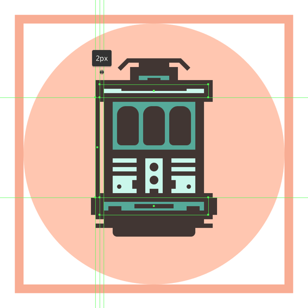 creating and positioning the main shape for the trams left handrail