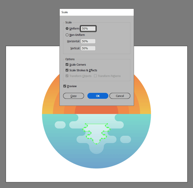 adding the inner water reflection to the illustration
