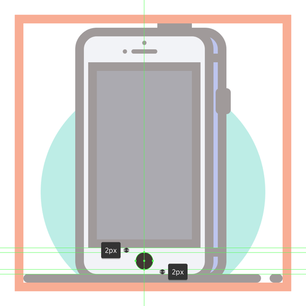 adding the circular button to the third phones front section