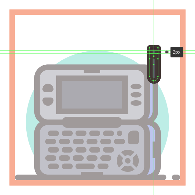 adding the horizontal divider line to the lower body of the second phones antenna