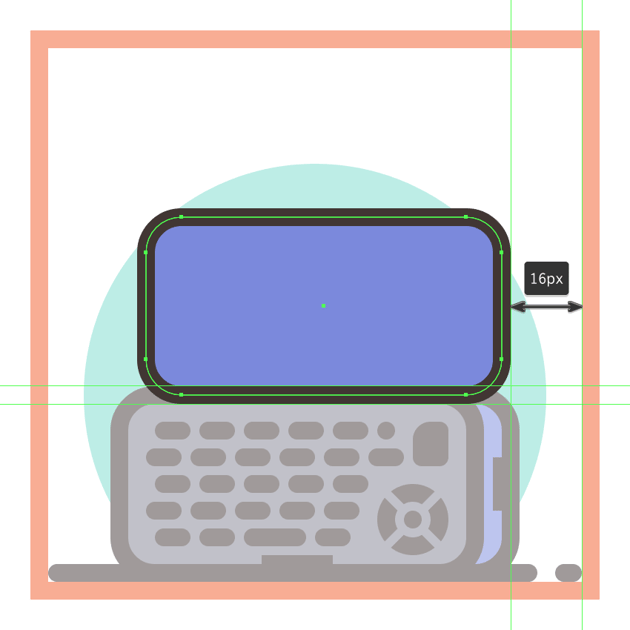 creating and positioning the main shapes for the side section of the second phones upper half