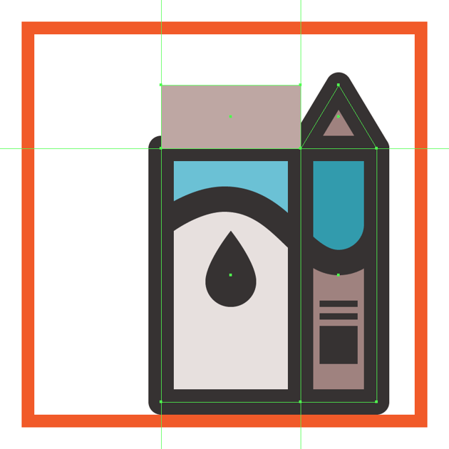 creating and positioning the main shape for the front section of the milk boxs upper body