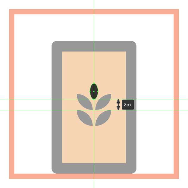 creating and positioning the main shape for the grain symbols top seed