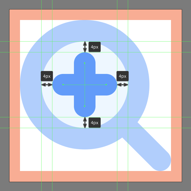 adding the plus sign to the zoom in buttons lens