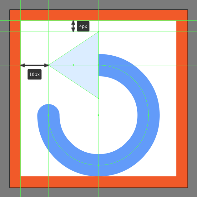 adjusting the shape of the refresh buttons arrow head