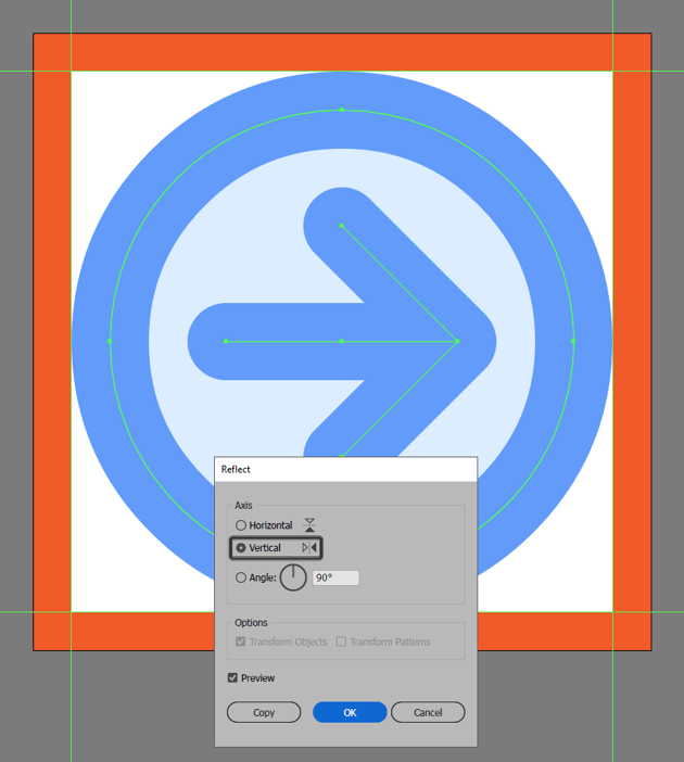 creating and positioning the main shapes for the forward button