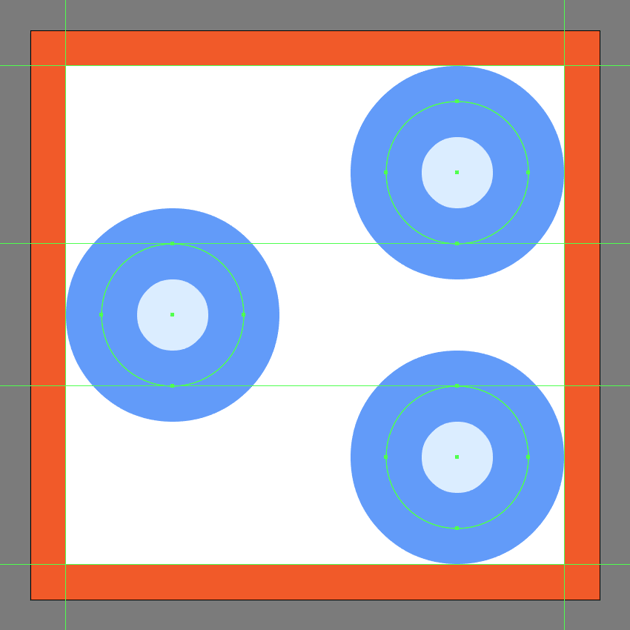 creating and positioning the main shapes for the share buttons main sections