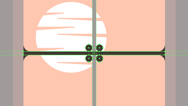 creating and positioning the main shapes for the horizontal grids inner rounded segments