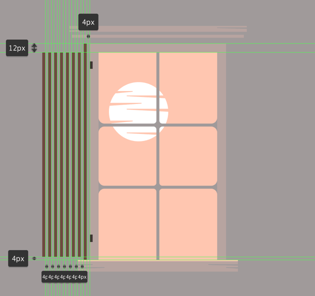 creating and positioning the main shapes for the windows left cover door