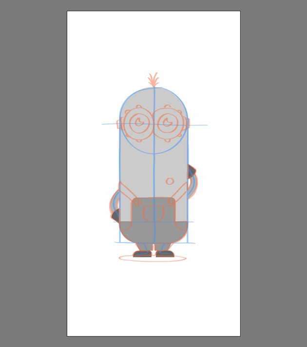 creating the main shapes for the body of Kevin