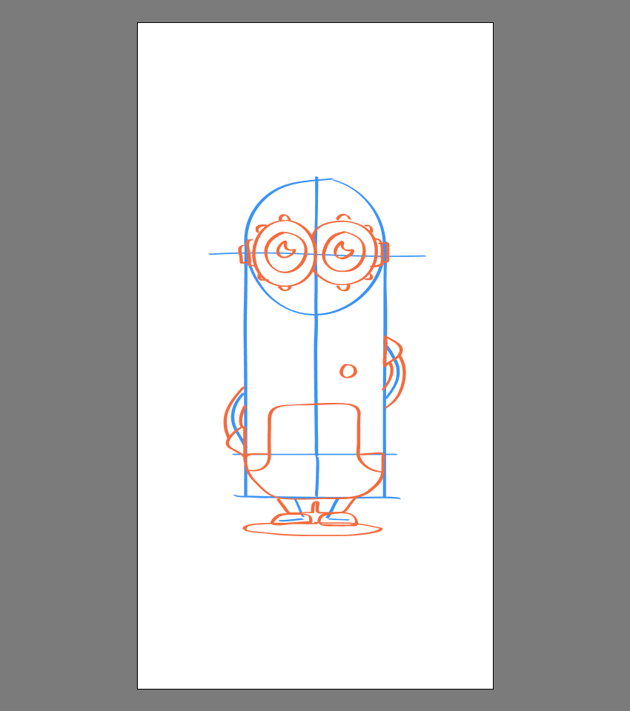drawing the mouth hand and legs for Kevin