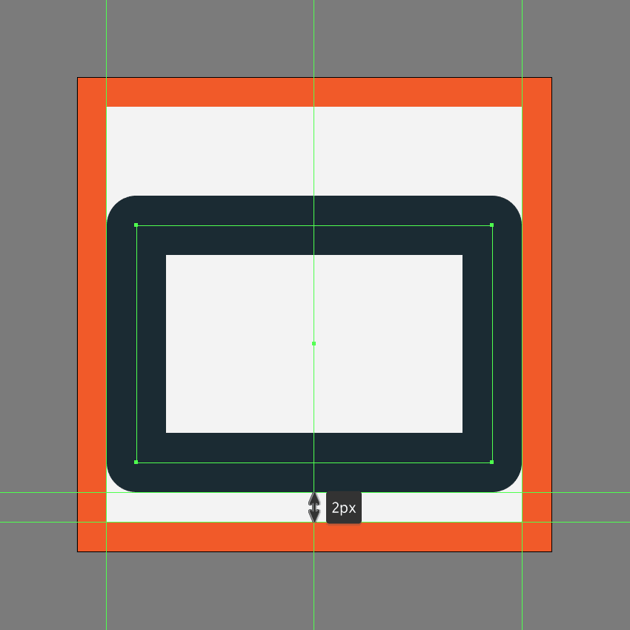 creating and positioning the main shape for the body of the share button