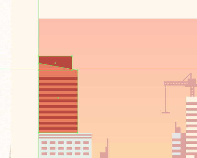 adding the upper body to the top left-sided building