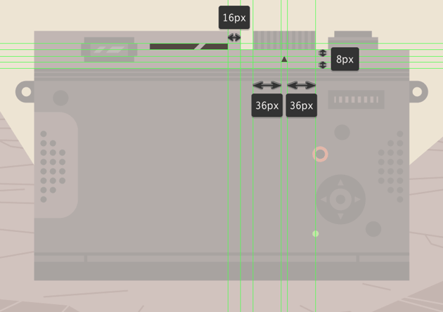 adding the decals to the upper section of the camera