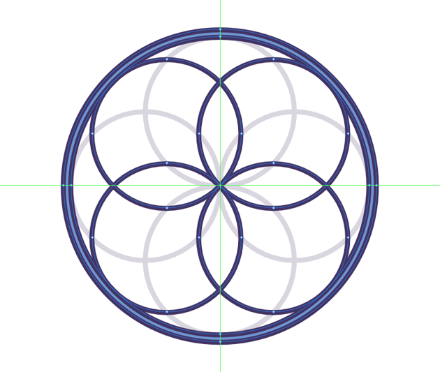 adding the secondary circles to the woven web