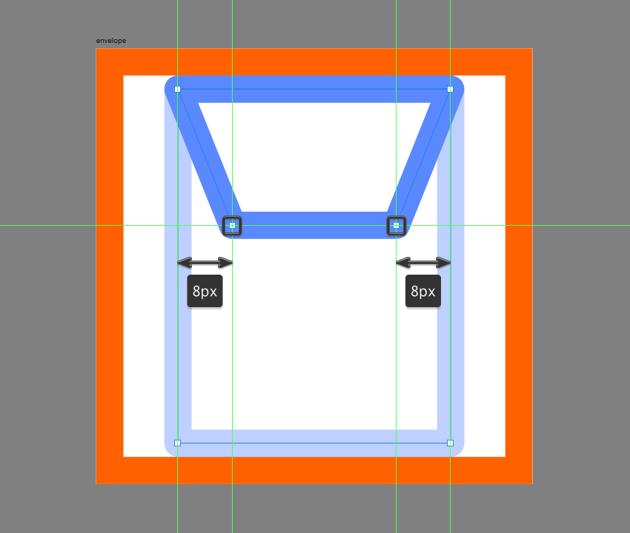 adjusting the upper section of the envelope