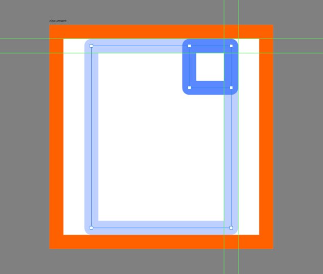creating the main shape for the corner of the document
