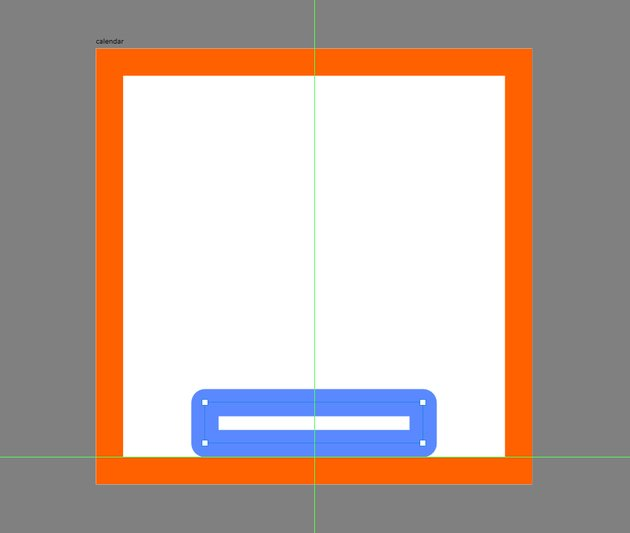 creating and positioning the back section of the calendar icon
