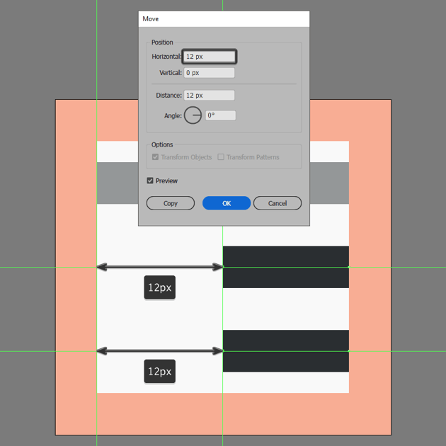 creating and adjusting the main shapes for the increase indent icon