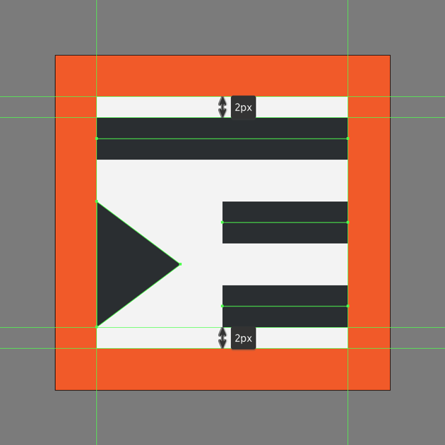 creating the main shapes for the decrease indent icon