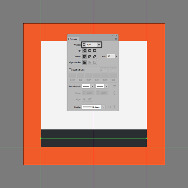 creating the lower section of the underline icon