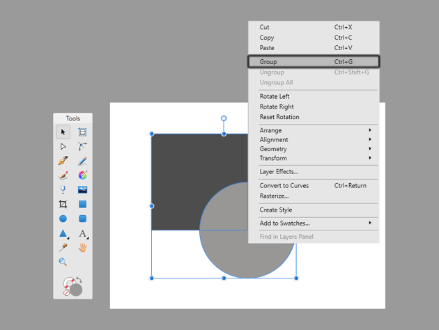 how to make a group in affinity designer