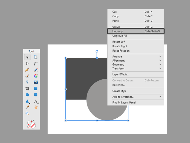 how to ungroup shapes in affinity designer
